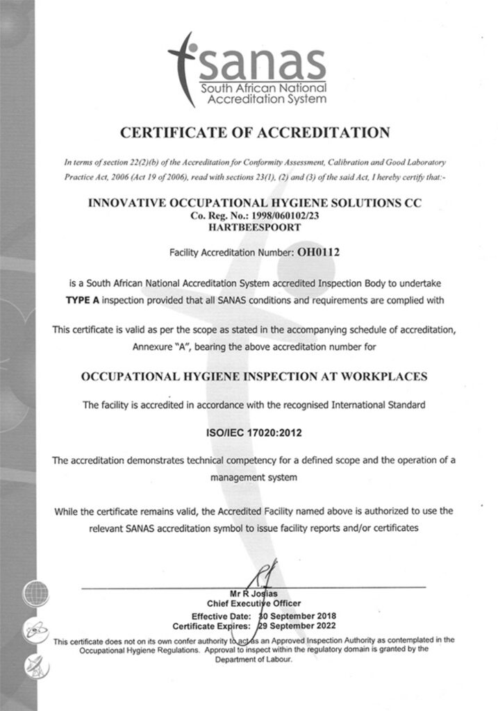 IOH SANAS Certificate of Accreditation 2014-2018